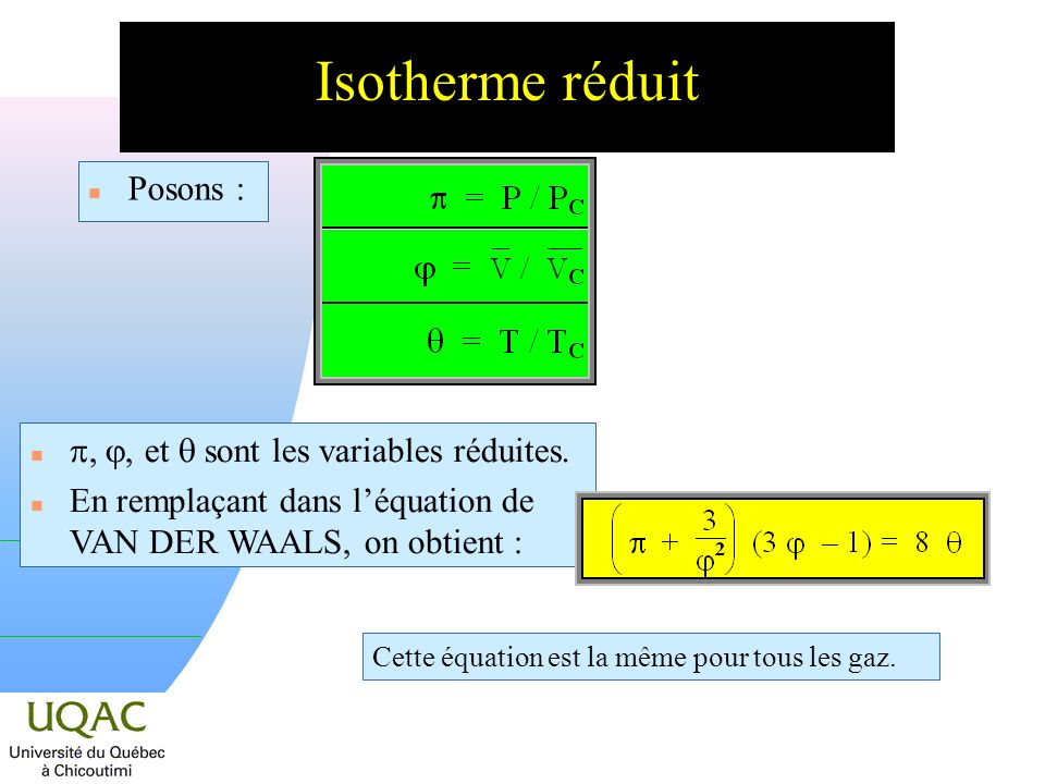 Isotherme réduit Posons : p, , et  sont les variables réduites.