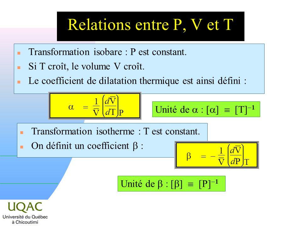Relations entre P, V et T Transformation isobare : P est constant.