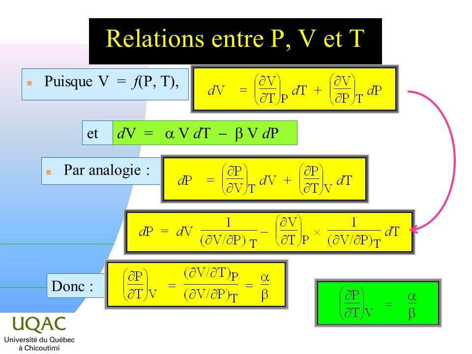 Relations entre P, V et T Puisque V = f(P, T), dV = a V dT - b V dP et