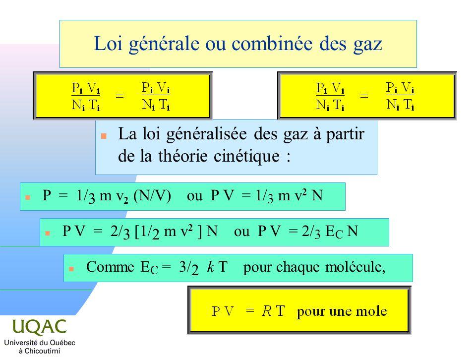 Loi générale ou combinée des gaz