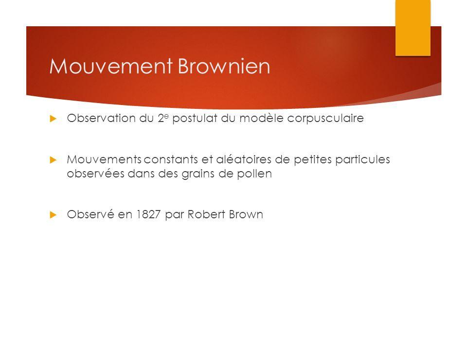 Mouvement Brownien Observation du 2e postulat du modèle corpusculaire
