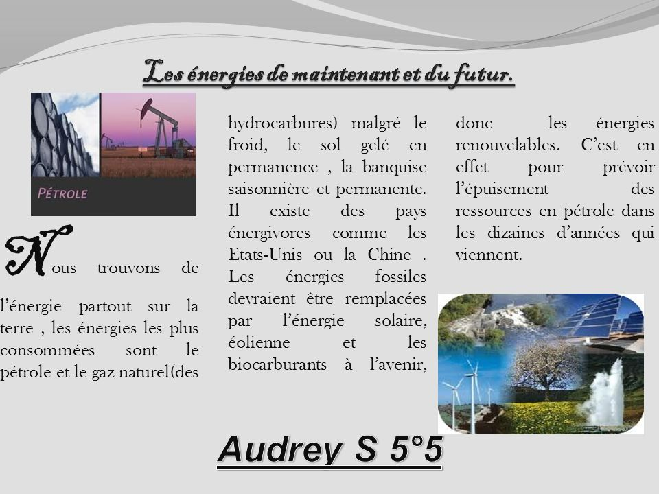 Les énergies de maintenant et du futur.
