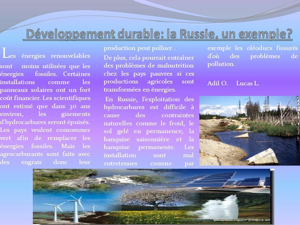 Développement durable: la Russie, un exemple