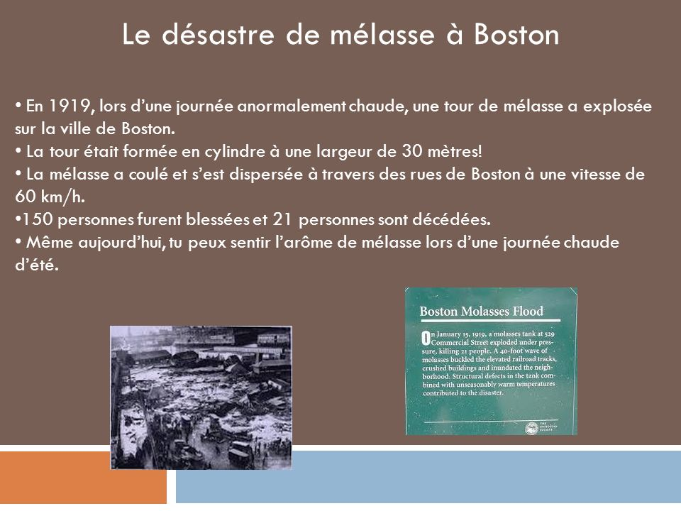 Le désastre de mélasse à Boston