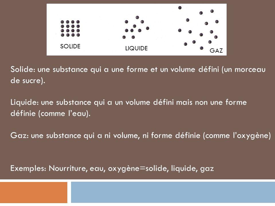 Gaz: une substance qui a ni volume, ni forme définie (comme l'oxygène)