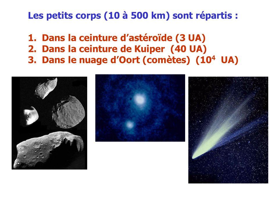 Les petits corps (10 à 500 km) sont répartis :