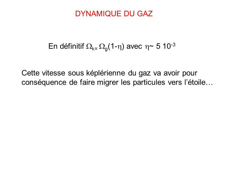DYNAMIQUE DU GAZ En définitif k= g(1-) avec ~ 5 10-3.