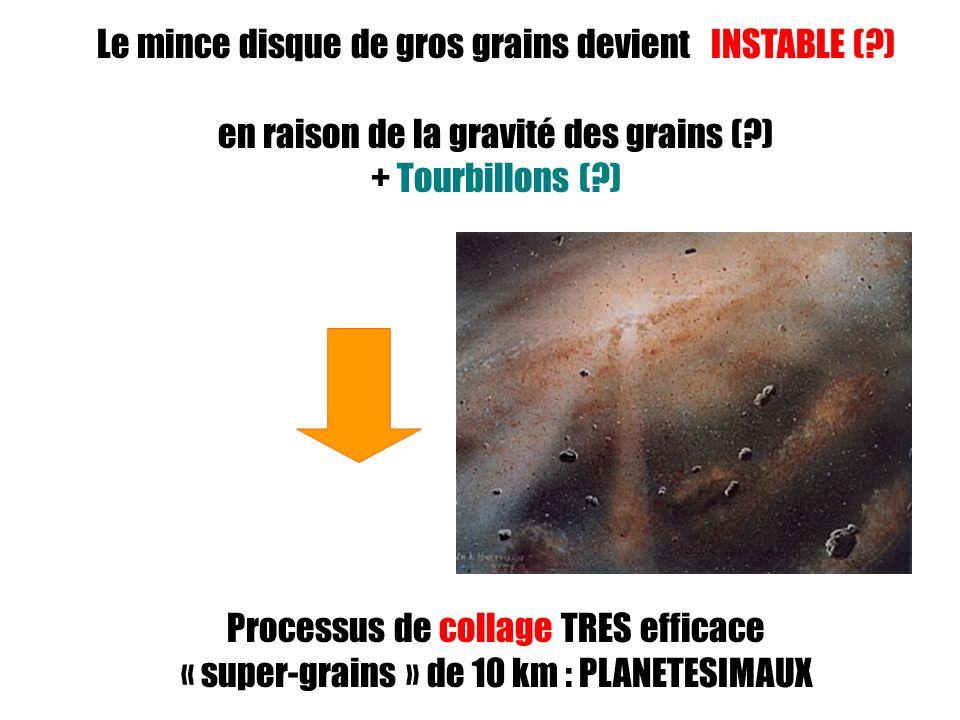 Le mince disque de gros grains devient INSTABLE ( )