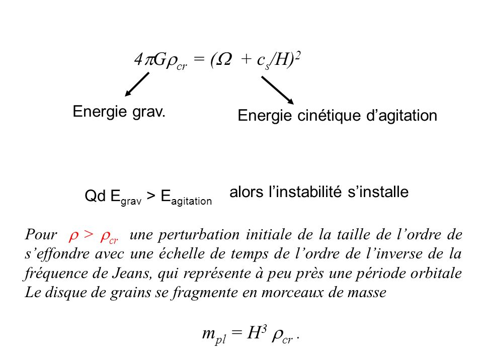 4Gcr = ( + cs/H)2 Energie grav. Energie cinétique d'agitation