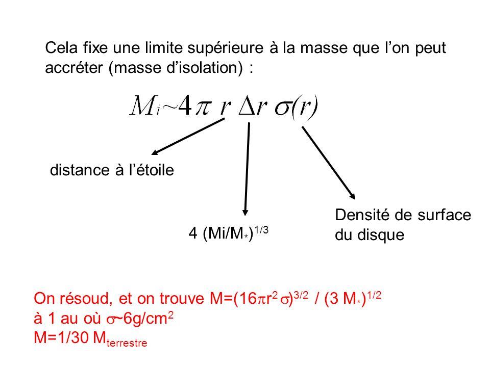 Cela fixe une limite supérieure à la masse que l'on peut accréter (masse d'isolation) :