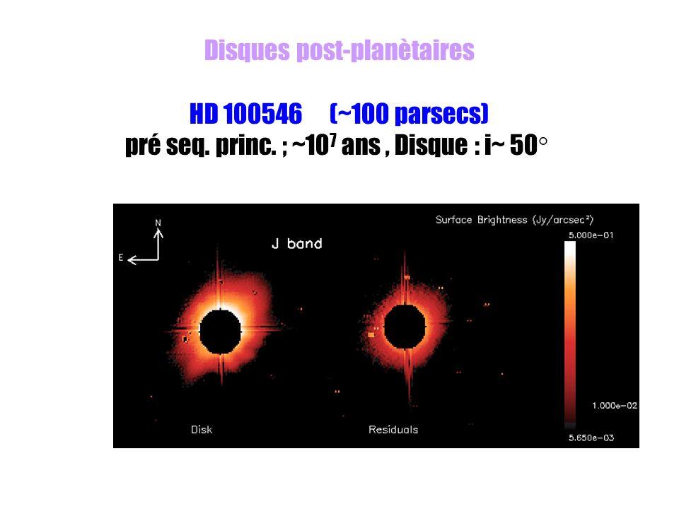 Disques post-planètaires HD 100546 (~100 parsecs)