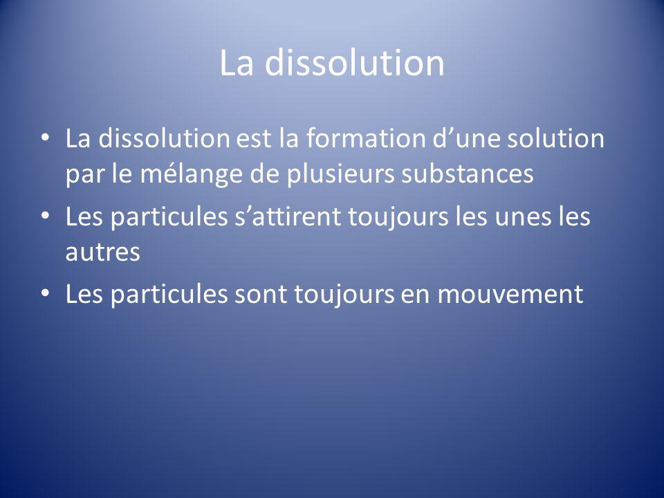 La dissolution La dissolution est la formation d'une solution par le mélange de plusieurs substances.