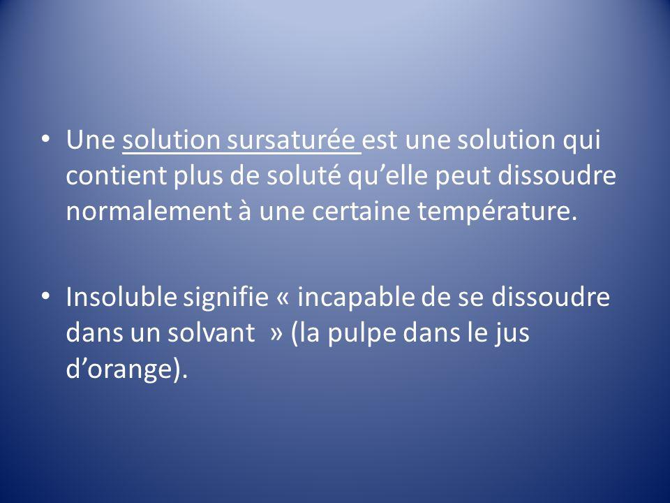 Une solution sursaturée est une solution qui contient plus de soluté qu'elle peut dissoudre normalement à une certaine température.