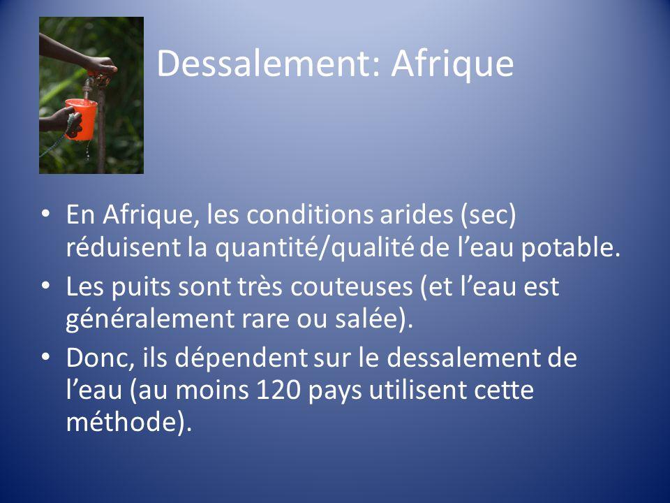 Dessalement: Afrique En Afrique, les conditions arides (sec) réduisent la quantité/qualité de l'eau potable.