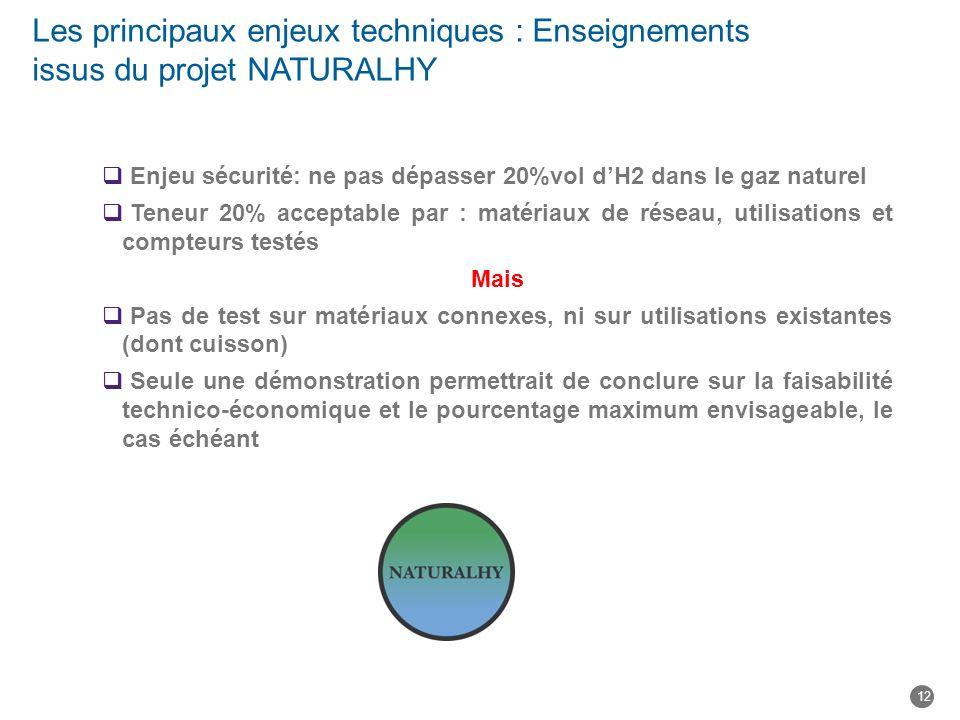 Les principaux enjeux techniques : Enseignements issus du projet NATURALHY
