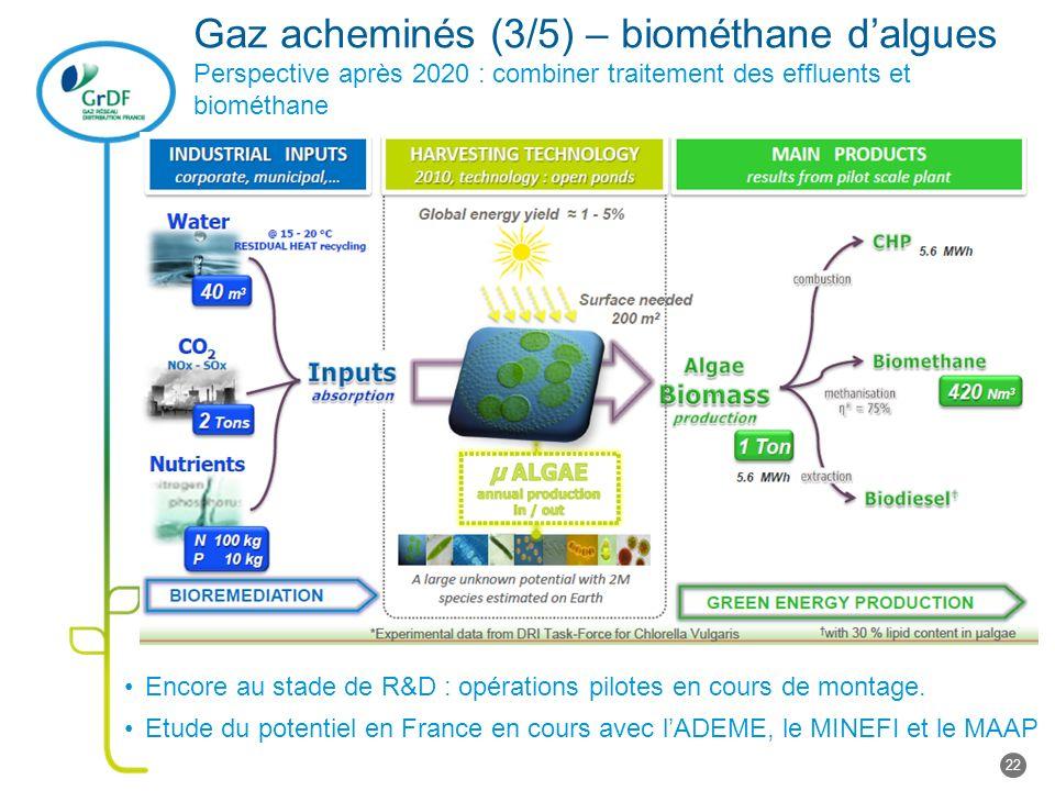 Gaz acheminés (3/5) – biométhane d'algues