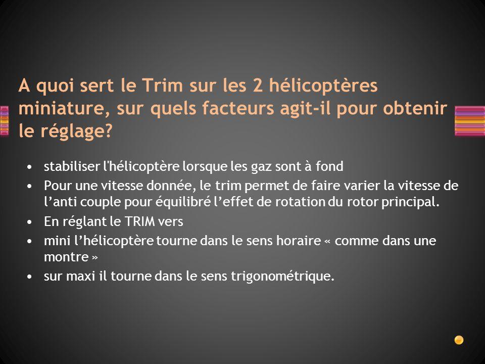 A quoi sert le Trim sur les 2 hélicoptères miniature, sur quels facteurs agit-il pour obtenir le réglage