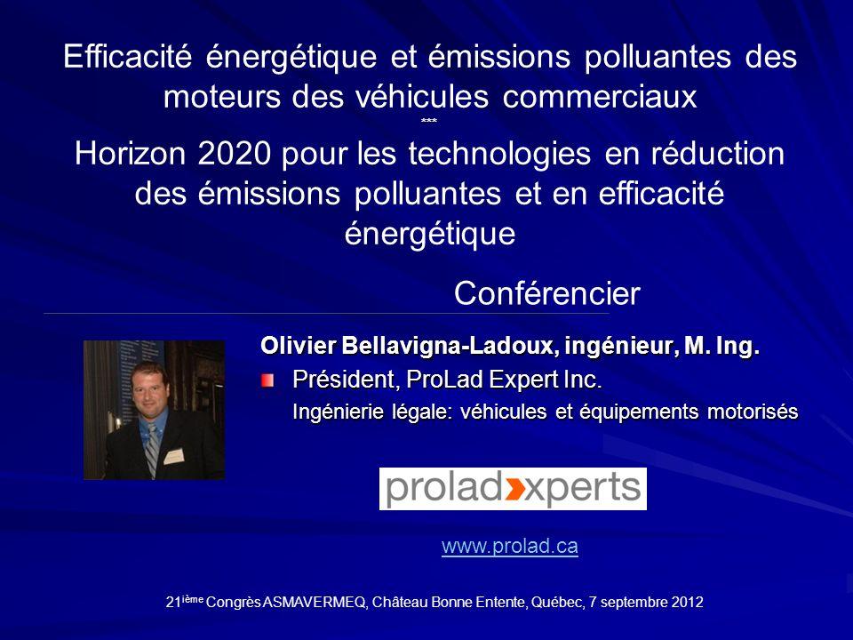 Efficacité énergétique et émissions polluantes des moteurs des véhicules commerciaux