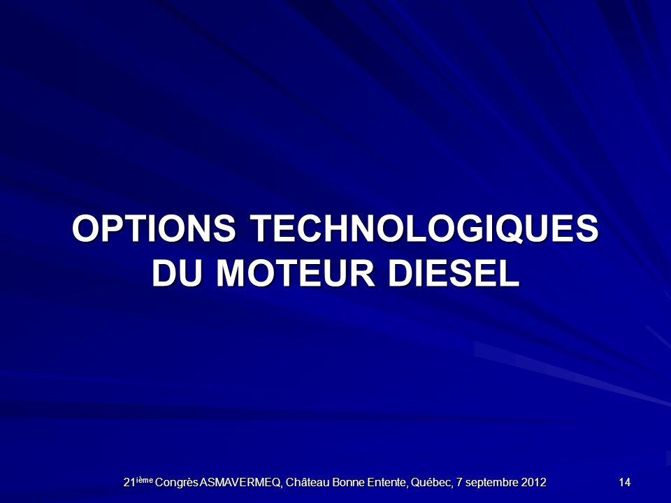 OPTIONS TechnologiQUES DU MOTEUR DIESEL
