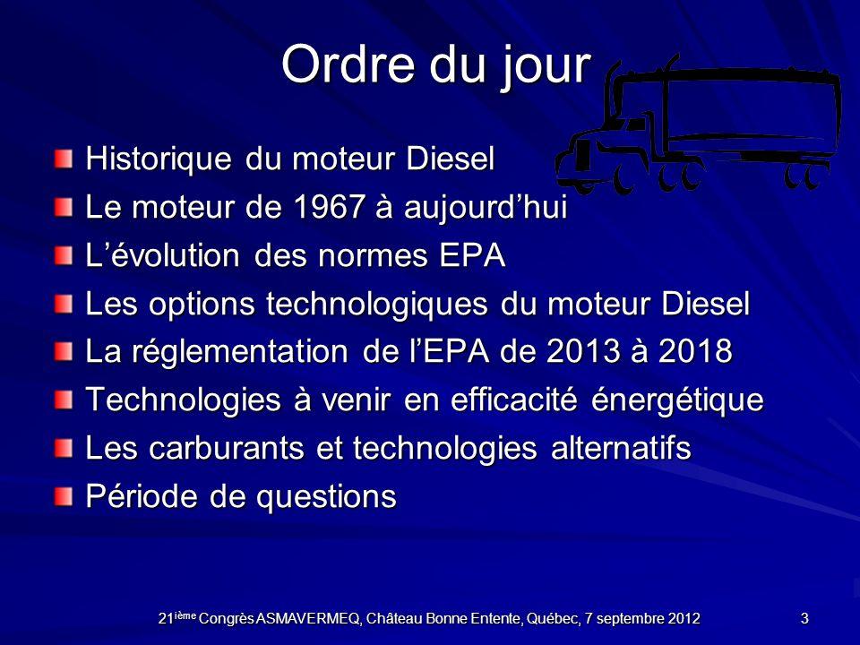 Ordre du jour Historique du moteur Diesel