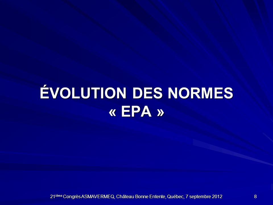 ÉVOLUTION DES NORMES « EPA »