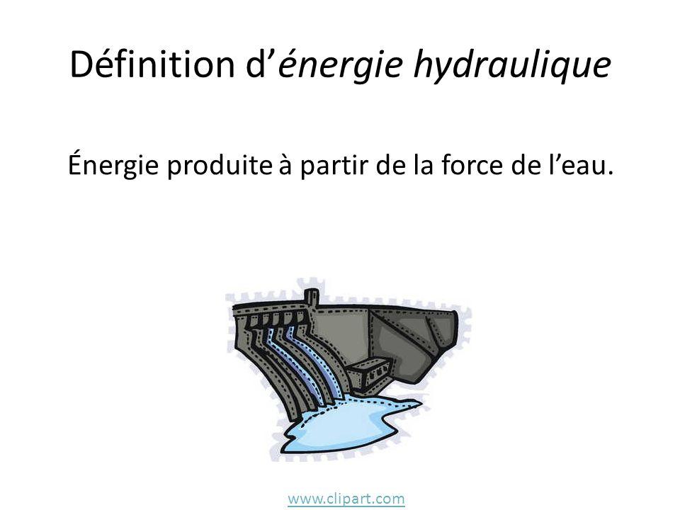 Définition d'énergie hydraulique