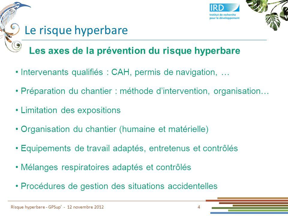 Le risque hyperbare Les axes de la prévention du risque hyperbare