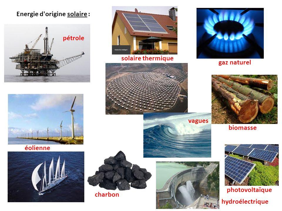 Energie d origine solaire :