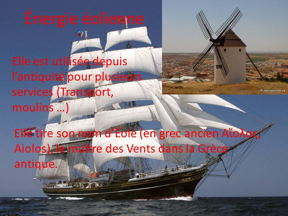 Énergie éolienne Elle est utilisée depuis l'antiquité pour plusieurs services (Transport, moulins …)