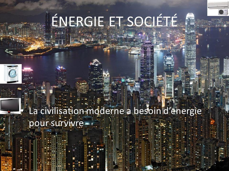 ÉNERGIE ET SOCIÉTÉ La civilisation moderne a besoin d'energie pour survivre