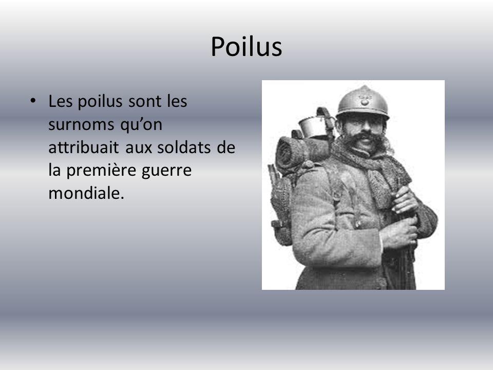 Poilus Les poilus sont les surnoms qu'on attribuait aux soldats de la première guerre mondiale.