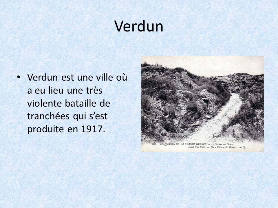Verdun Verdun est une ville où a eu lieu une très violente bataille de tranchées qui s'est produite en 1917.