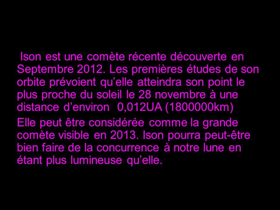 Ison est une comète récente découverte en Septembre 2012