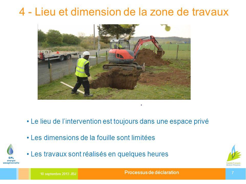 4 - Lieu et dimension de la zone de travaux