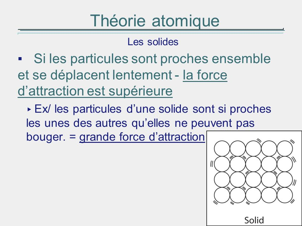 Théorie atomique Les solides. Si les particules sont proches ensemble et se déplacent lentement - la force d'attraction est supérieure.