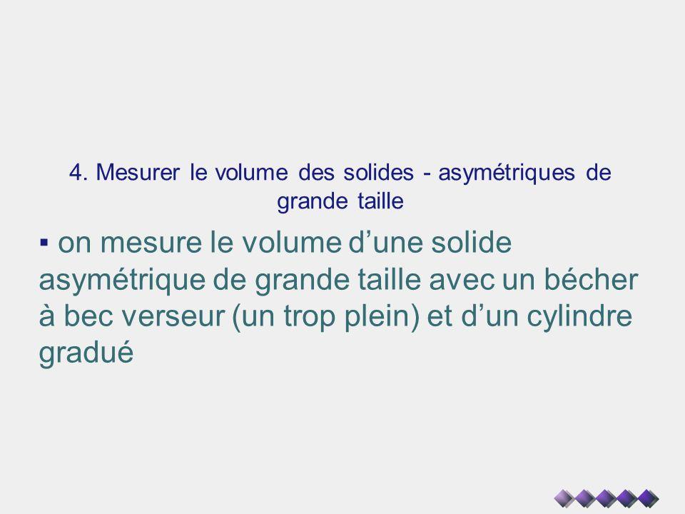 4. Mesurer le volume des solides - asymétriques de grande taille