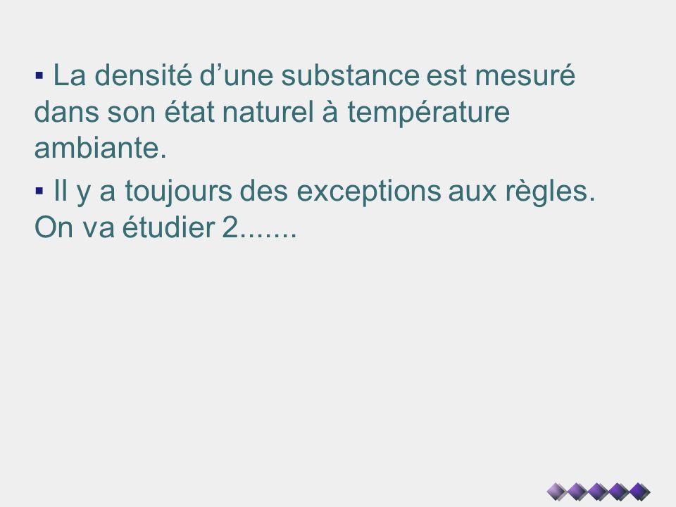 La densité d'une substance est mesuré dans son état naturel à température ambiante.