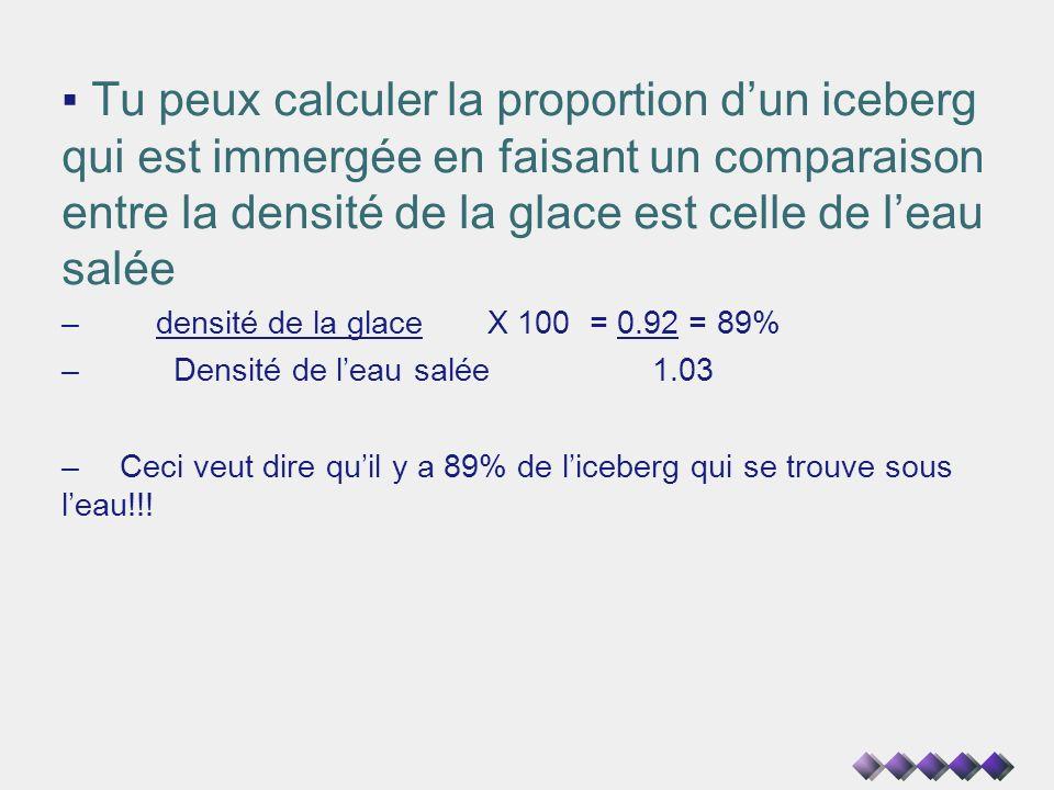 Tu peux calculer la proportion d'un iceberg qui est immergée en faisant un comparaison entre la densité de la glace est celle de l'eau salée