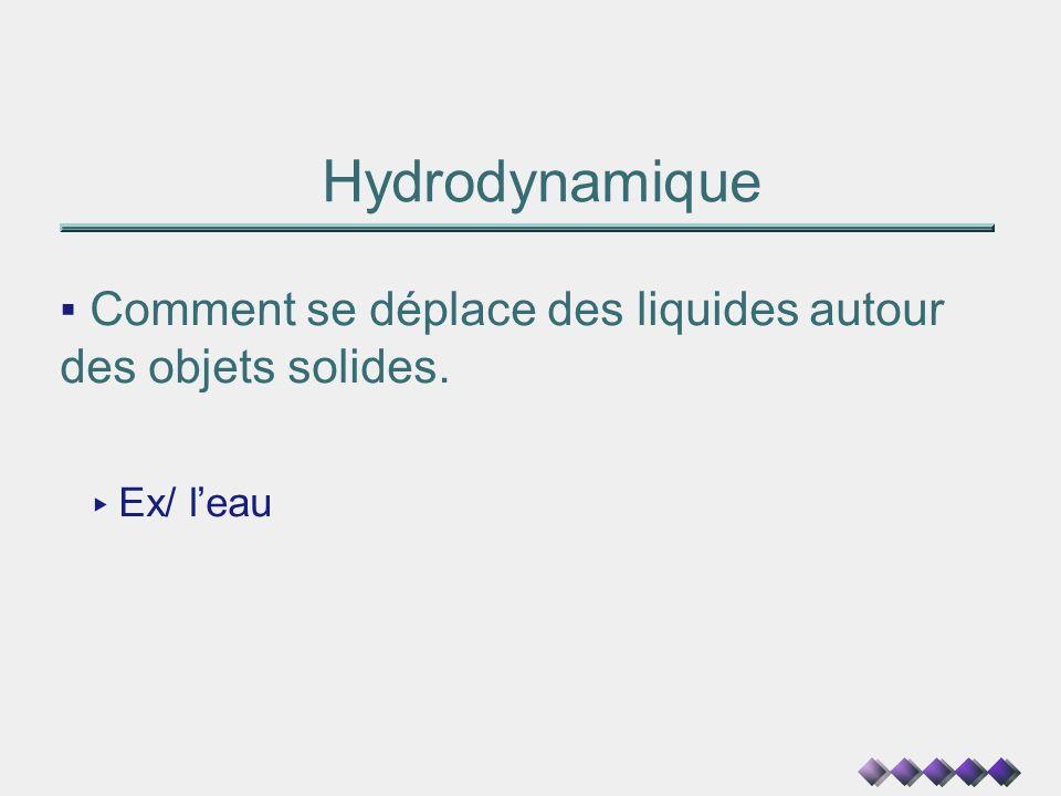 Hydrodynamique Comment se déplace des liquides autour des objets solides. Ex/ l'eau