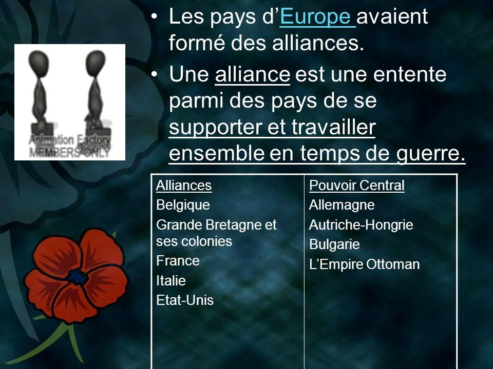 Les pays d'Europe avaient formé des alliances.
