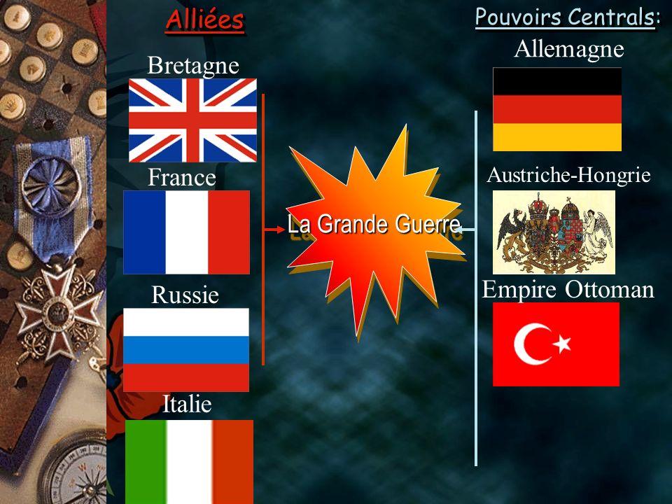 Alliées Allemagne Bretagne France La Grande Guerre Empire Ottoman