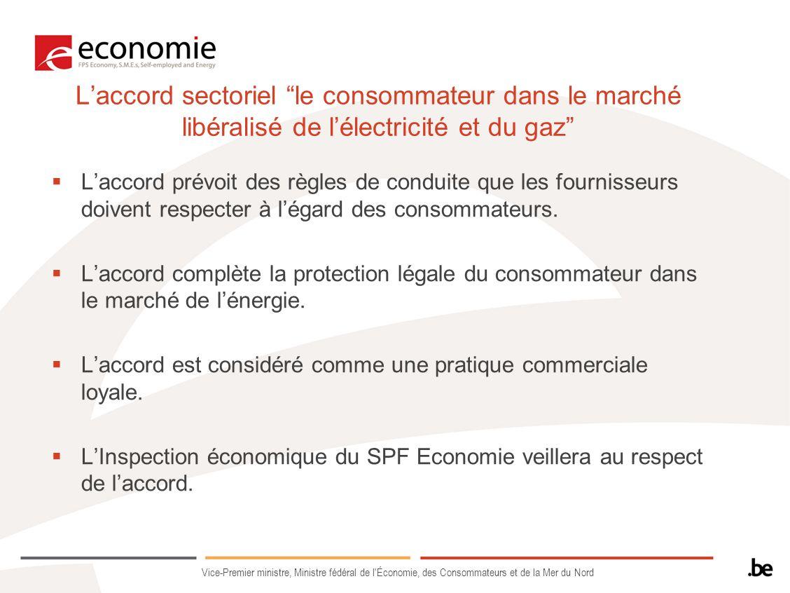 L'accord sectoriel le consommateur dans le marché libéralisé de l'électricité et du gaz