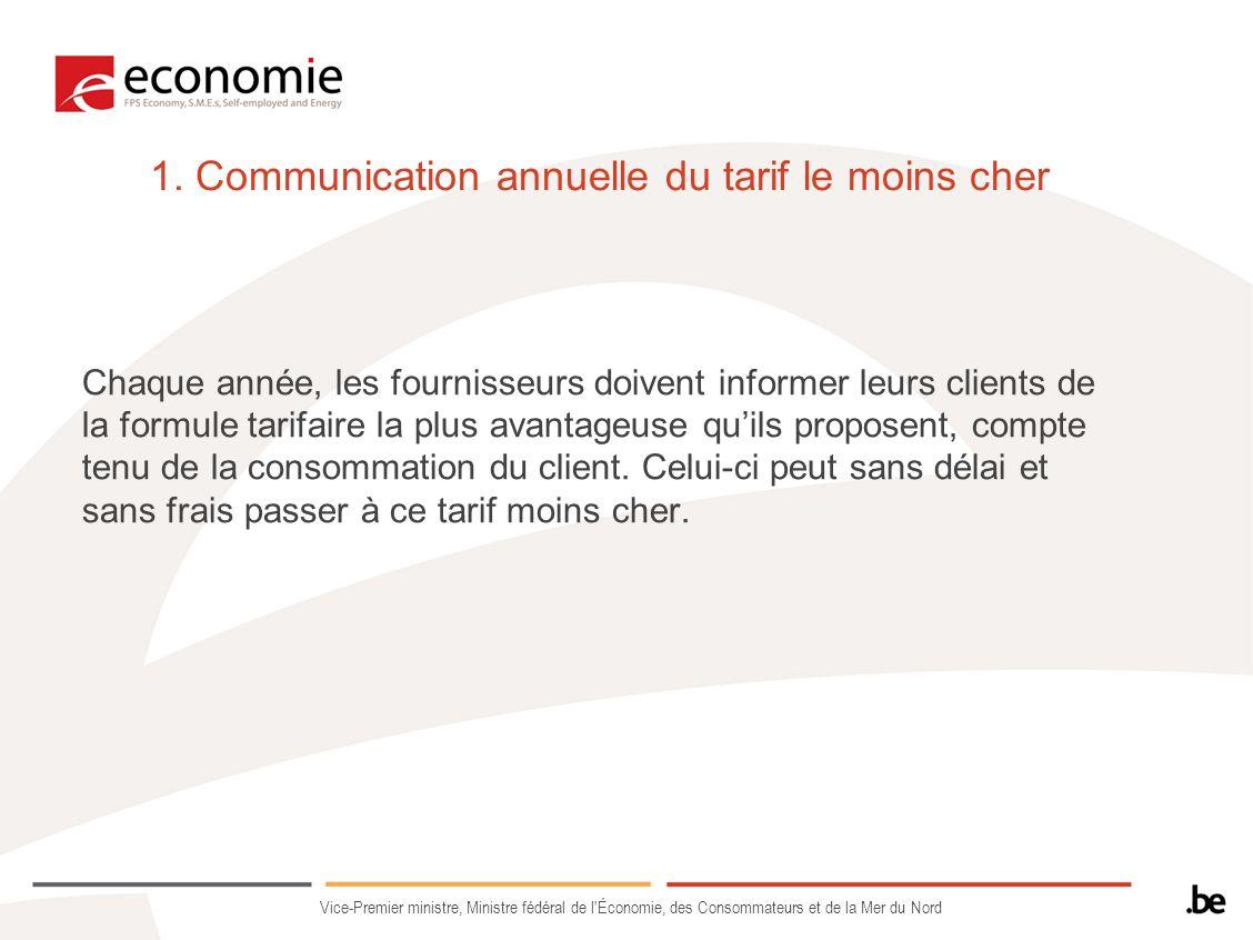 1. Communication annuelle du tarif le moins cher
