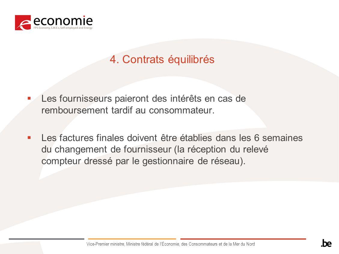 4. Contrats équilibrés Les fournisseurs paieront des intérêts en cas de remboursement tardif au consommateur.