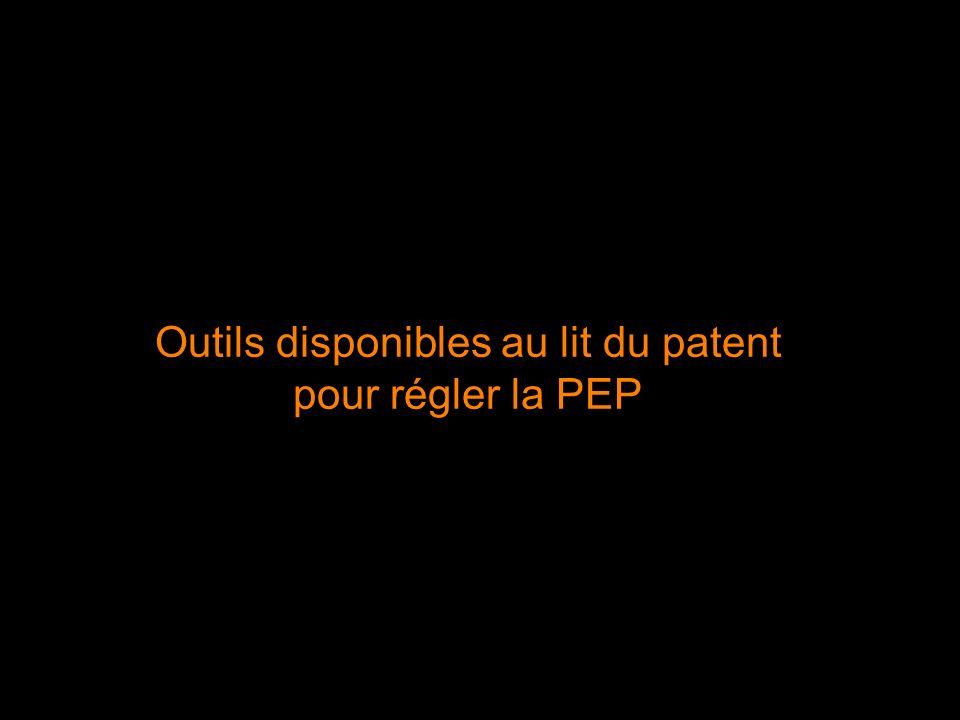 Outils disponibles au lit du patent pour régler la PEP