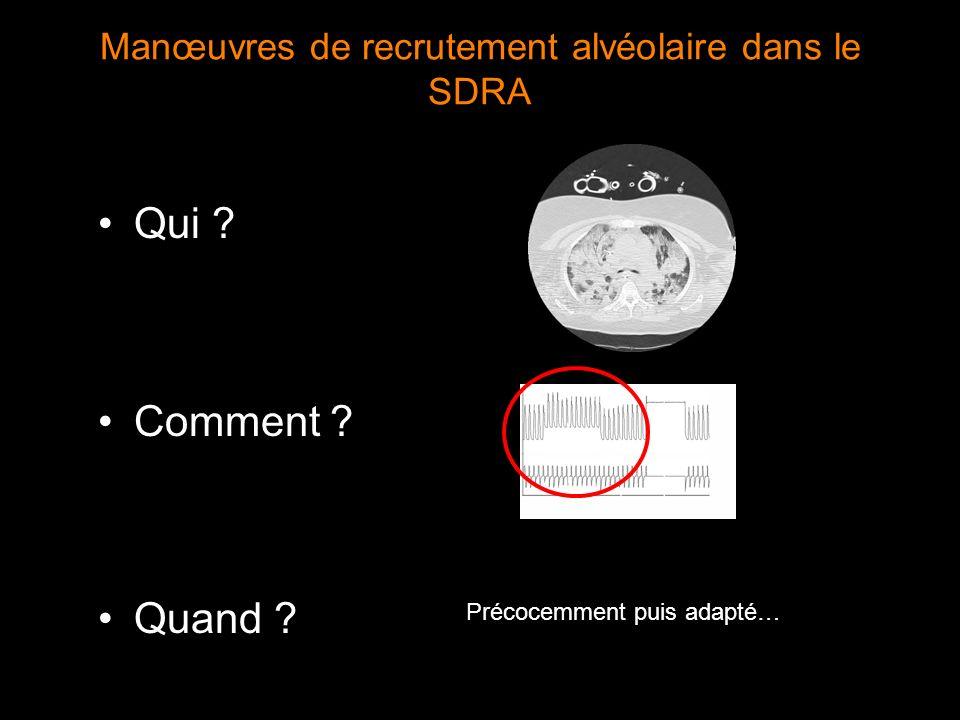 Manœuvres de recrutement alvéolaire dans le SDRA