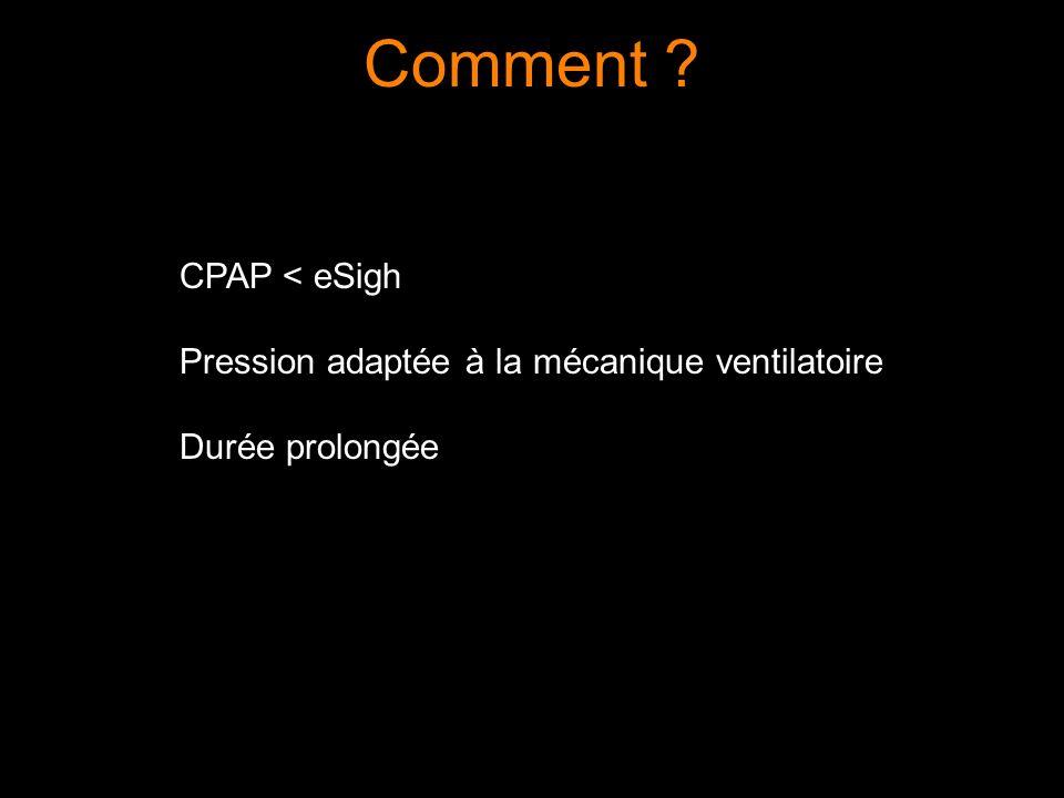 Comment CPAP < eSigh Pression adaptée à la mécanique ventilatoire