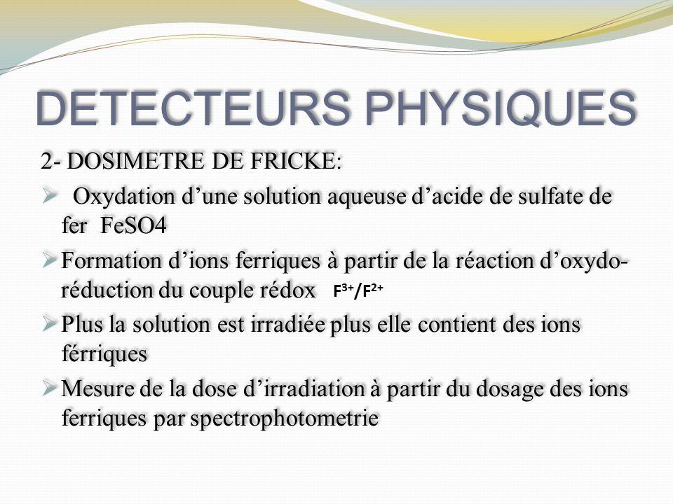 DETECTEURS PHYSIQUES 2- DOSIMETRE DE FRICKE: