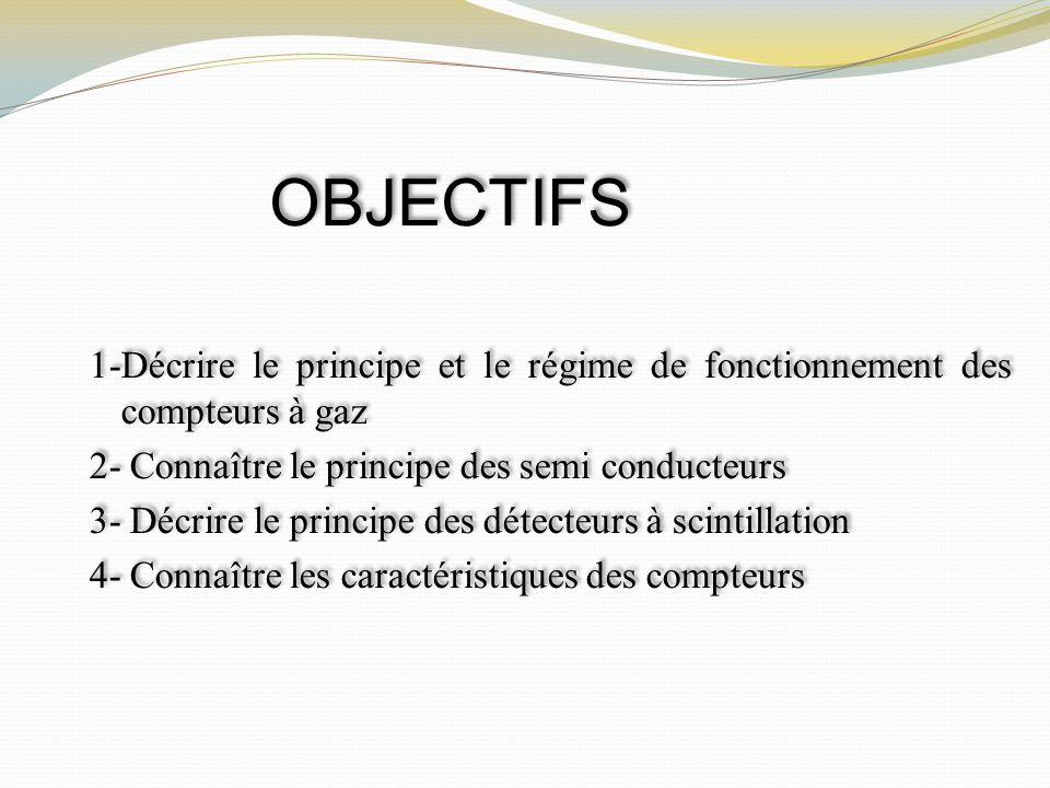OBJECTIFS 1-Décrire le principe et le régime de fonctionnement des compteurs à gaz. 2- Connaître le principe des semi conducteurs.
