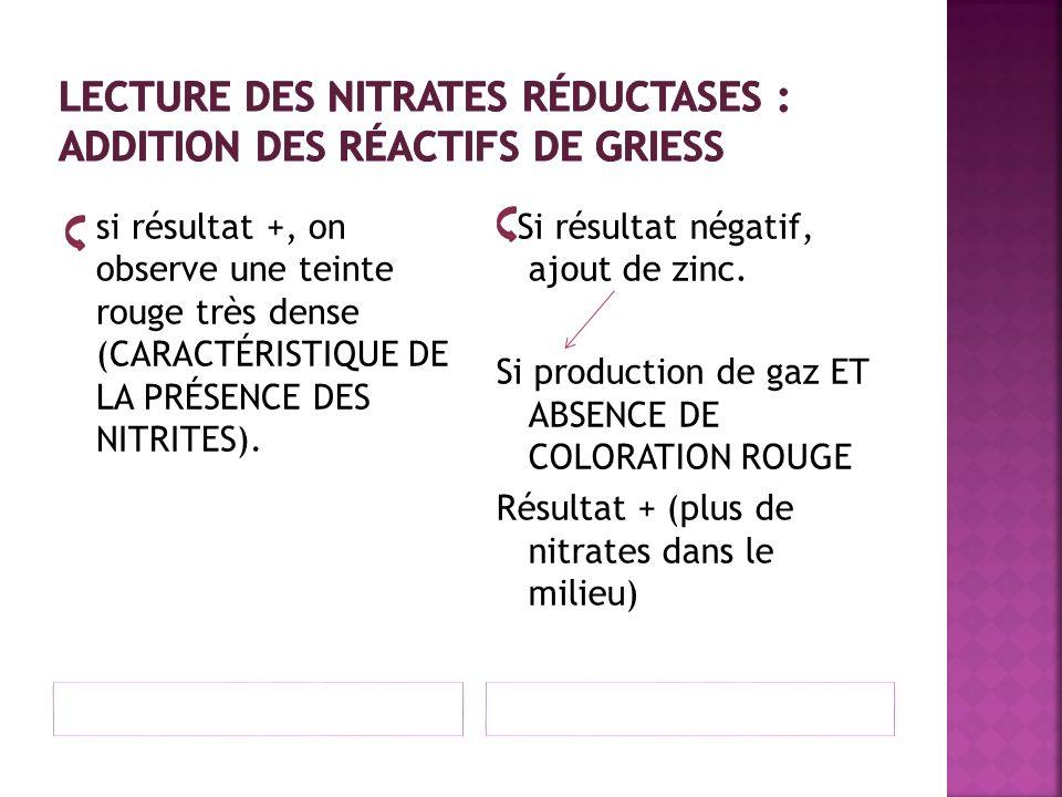 Lecture des nitrates réductases : ADDITION DES RÉACTIFS DE GRIESS